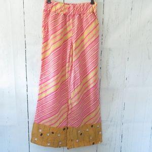 Elevenses Pants Stripe Floral Wide Leg Palazzo